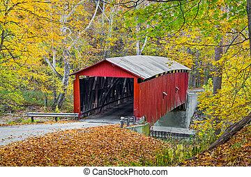 Autumn at Rolling Stone Covered Bridge - Colorful autumn...