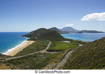 saint kitts and nevis - view on caribbean sea and Atlantic...