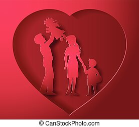 Happy family having fun paper cut style