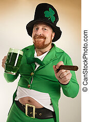Leprechaun drinking green beer - An image of a Leprechaun...