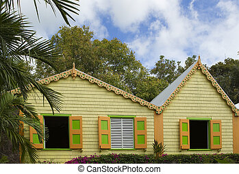 saint kitts and Nevis - house in tropical colors