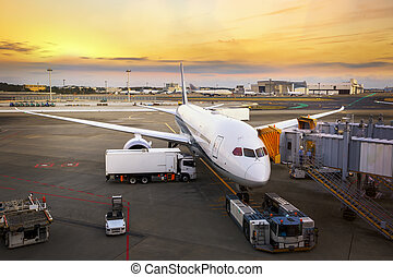 Loading cargo on the plane in airport