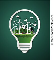 paper cut of eco - concept of eco paper cut style
