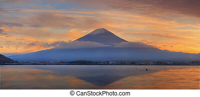 Mountain Fuji view from the lake,The symbol of Japan with...