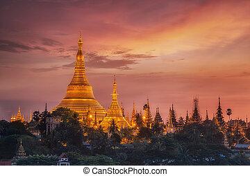 Shwedagon Pagoda - Yangon, Myanmar view of Shwedagon Pagoda...
