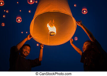 New year, Thai people floating lamp in Tudongkasatarn,...