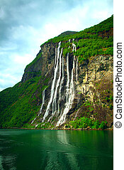 Geiranger Fjord Norge and waterfall Seven sisters