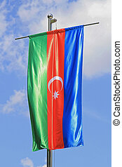 Azerbaijan Flag - Silk Flag of Azebaijan Tricolour With...