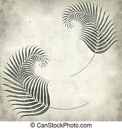 textured old paper background with fern leaves illustration