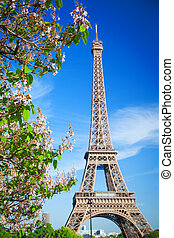 Eiffel Tower in Paris on a sunny summer day