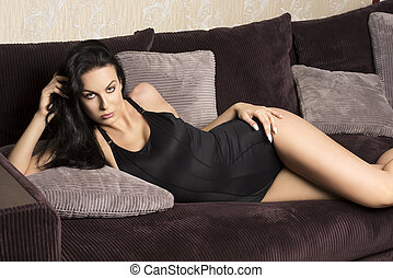 cute girl on sofa