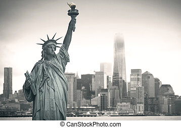 Manhattan. - Statue of Liberty with cityscape in the...