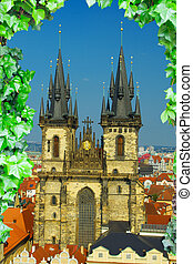 Tyn Church stands in the center of the mystical samam Prague...
