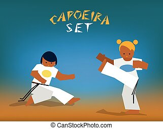 vector capoeira set - Color silhouettes capoeira fighting....