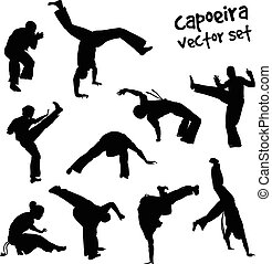 vector capoeira set - Isolated silhouettes capoeira fighting...