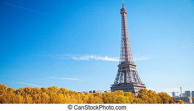 Eiffel Tower in Paris on a sunny day Gold autumn