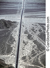 pan-American highway in the area of the Nazca desert - Peru,...