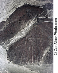 Aerial view of Nasca lines - astronaut is visible from the...