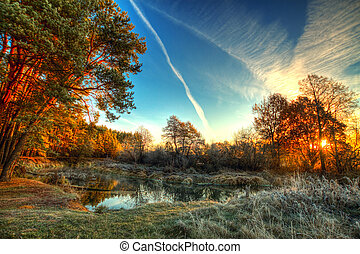 frost on trees and grass - Dawn at the river .osen. frost on...