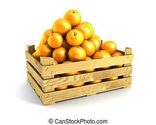 wooden crate full of oranges Isolated 3d rendering