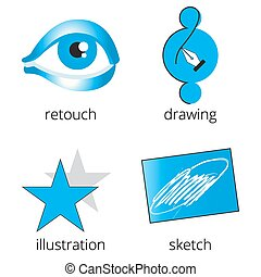 Printing shop services blue icons set Part 4 - Printing shop...