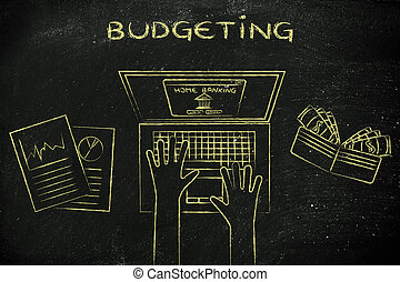 home banking user at his laptop, with text Budgeting