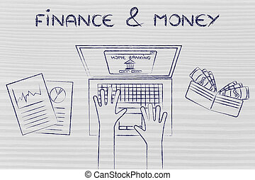 home banking user at his laptop, with text Finance & Money