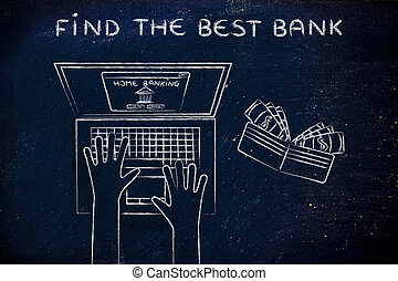 home banking user at his laptop, with text Find the best bank