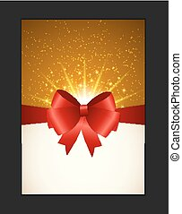 Invitation Card with Bow, Ribbon and Copy Space. Vector...