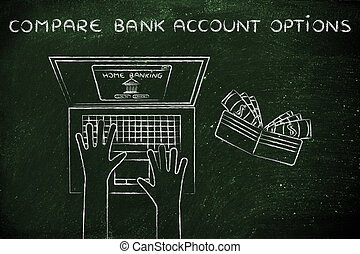 home banking user at his laptop, with text Compare bank account options