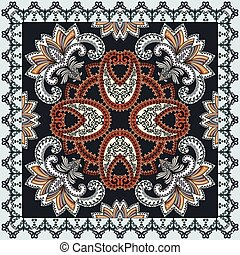 bandanna with big paisley turquoise and brown tint on a dark...