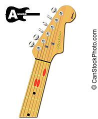 The Guitar Chord Of A Minor - An electric guitar neck with...