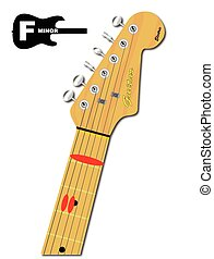 The Guitar Chord Of F Minor - An electric guitar neck with...