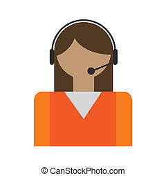 Call center operators avatar. Flat support icon