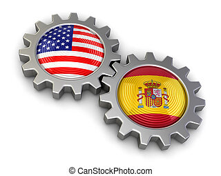 USA and Spanish flags on a gears Image with clipping path