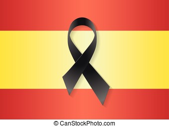 Spain flag black ribbon - Spain flag with a black ribbon to...