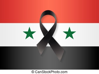 Syria flag black ribbon - Syria flag with a black ribbon to...