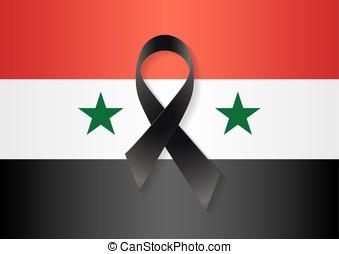 Syria flag black ribbon - Syria flag with a black ribbon to...
