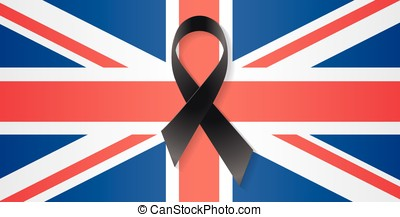 United Kingdom flag black ribbon - United Kingdom flag with...
