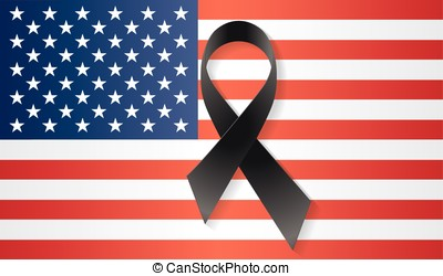 USA flag black ribbon - USA flag with a black ribbon to...