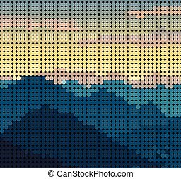Abstract mountain view form dot pattern background