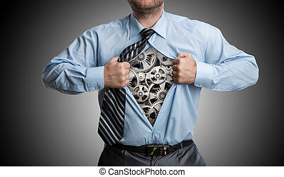 Businessman with gears inside