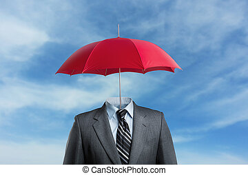 Businessman without head under umbrella over the sky