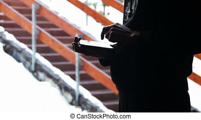Man working on the tablet - Young man working on a tablet...