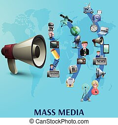 Mass Media Poster - Mass media poster with news makers and...