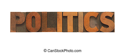 politics - the word politics in old wood type
