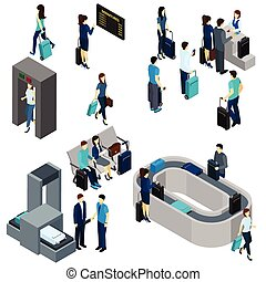 People In Airport Isometric - People in airport lounge and...