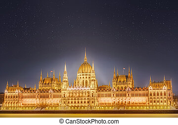 View of hungarian Parliament building, Budapest - View of...