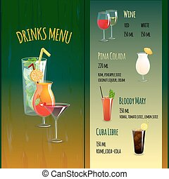 Cocktail Bar Menu - Cocktail bar menu brochure template with...