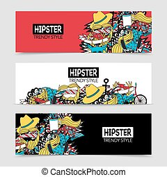 Hipster 3 interactive horizontal banners set - Hipster style...